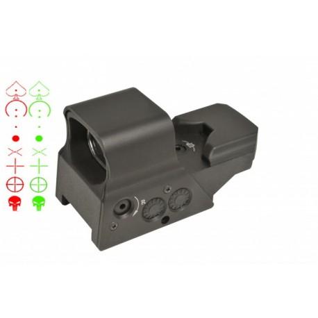 Point rouge rechargeable 8 réticules vert/rouge + câble USB