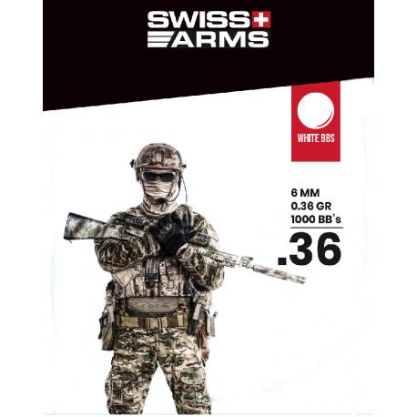 Billes SWISS ARMS Blanche 0.36gr sac de 1000BBs