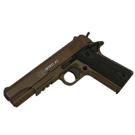 PACK Colt 1911 Spring Culasse Metal Dark Earth 13BBs 0.7J + 2000 BILLES